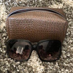 Michael Kors black sunglasses with croc detail